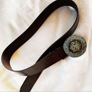 Anthropologie leather belt with heavy metal buckle